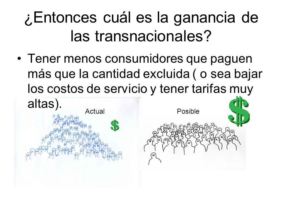 ¿Entonces cuál es la ganancia de las transnacionales