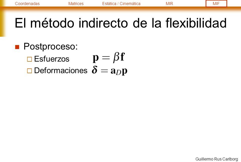 El método indirecto de la flexibilidad