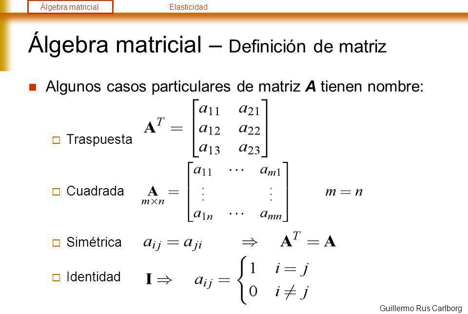 Álgebra matricial – Definición de matriz