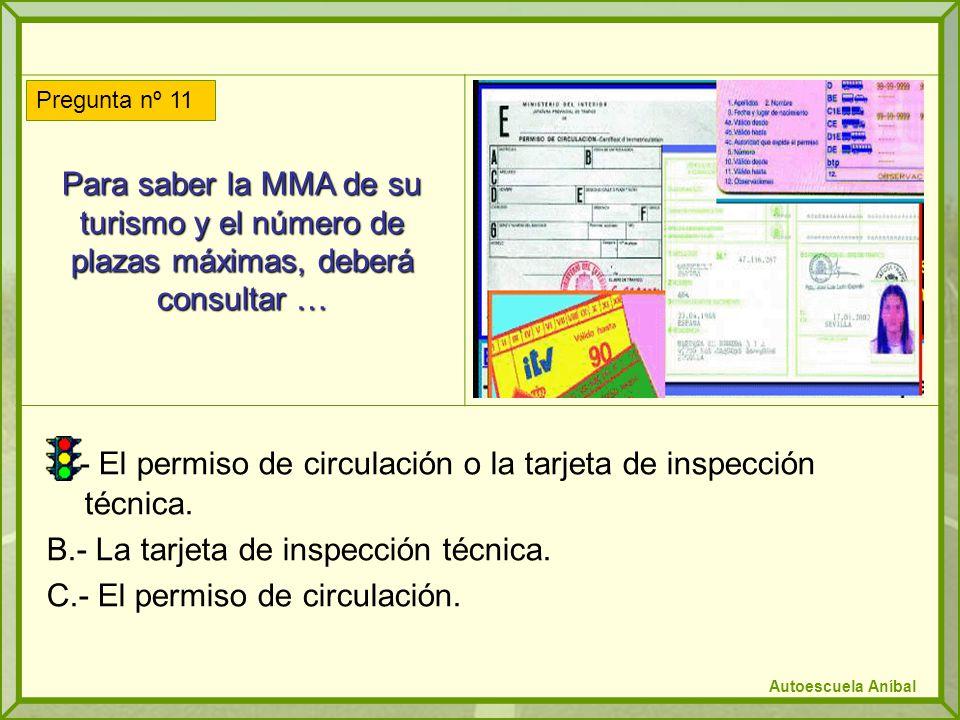 A.- El permiso de circulación o la tarjeta de inspección técnica.