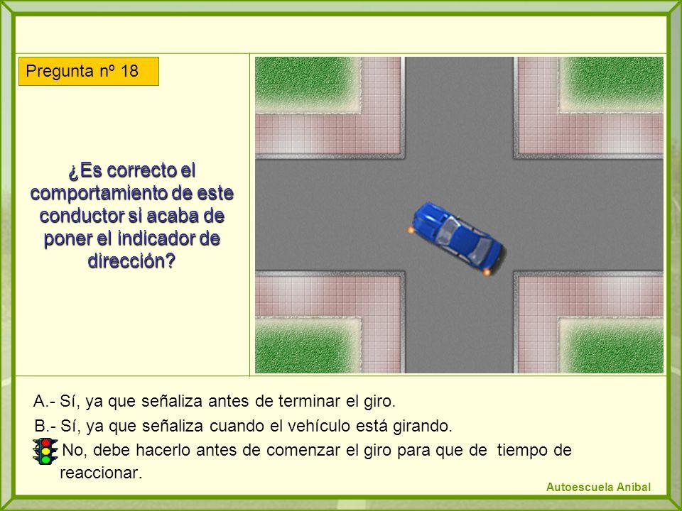 ¿Es correcto el comportamiento de este conductor si acaba de poner el indicador de dirección