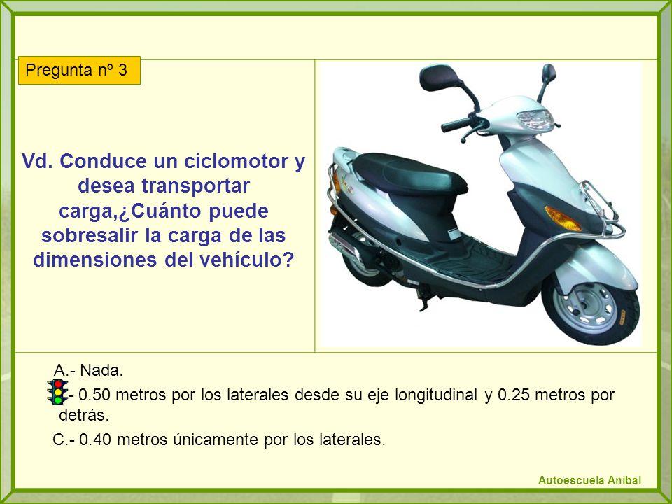 Vd. Conduce un ciclomotor y desea transportar carga,¿Cuánto puede sobresalir la carga de las dimensiones del vehículo