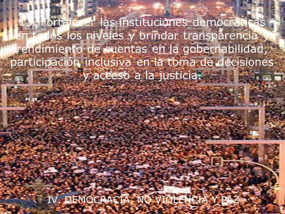 IV. DEMOCRACIA, NO VIOLENCIA Y PAZ