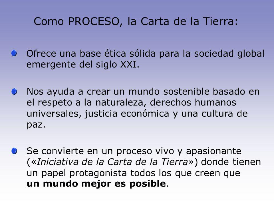 Como PROCESO, la Carta de la Tierra: