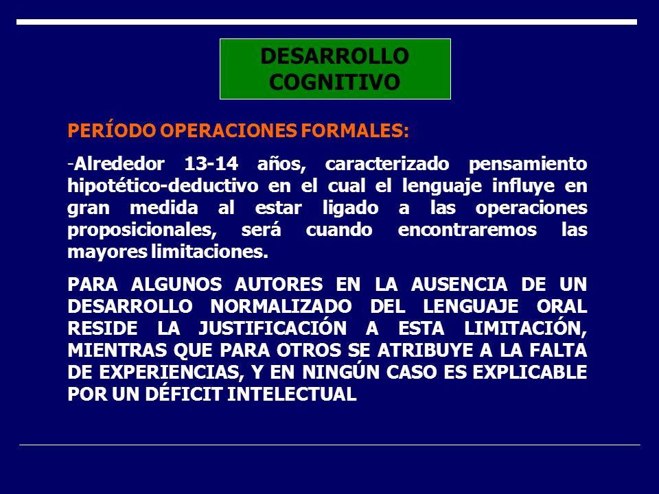 DESARROLLO COGNITIVO PERÍODO OPERACIONES FORMALES: