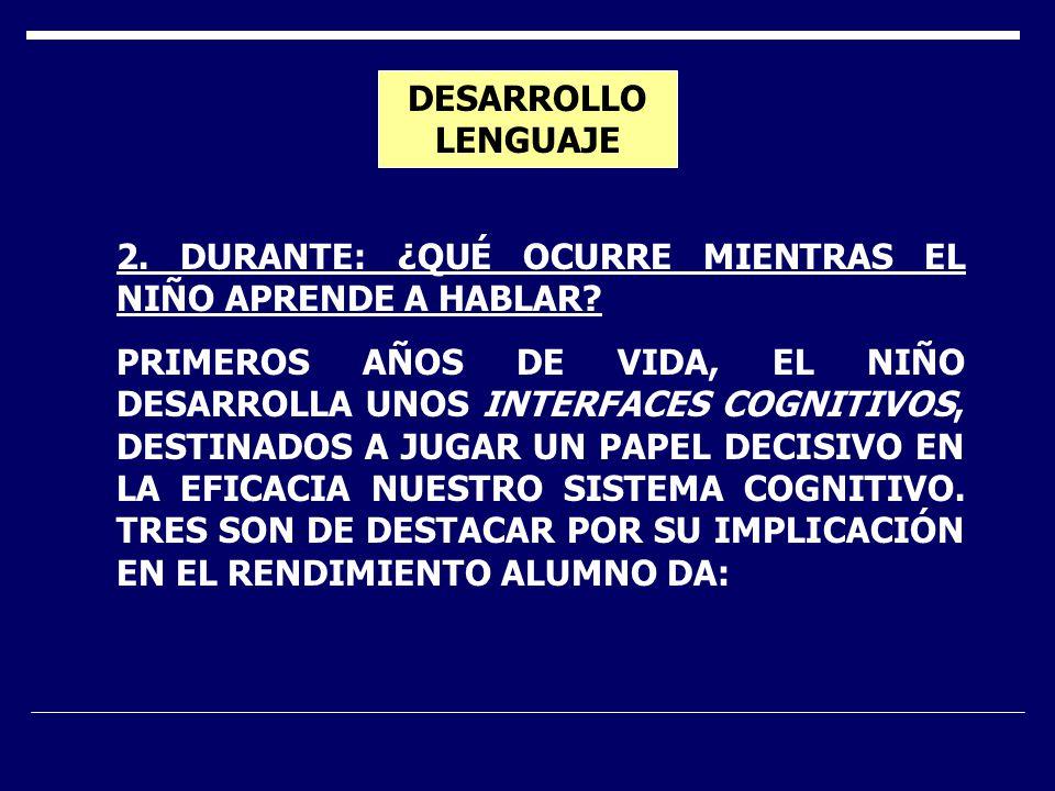 DESARROLLO LENGUAJE 2. DURANTE: ¿QUÉ OCURRE MIENTRAS EL NIÑO APRENDE A HABLAR