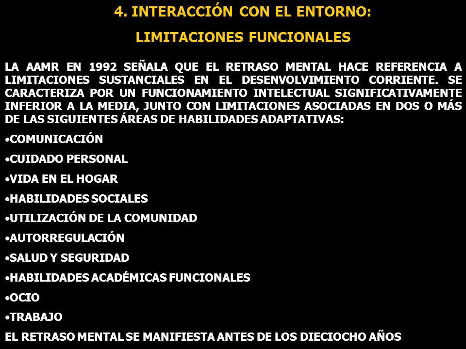 4. INTERACCIÓN CON EL ENTORNO: LIMITACIONES FUNCIONALES