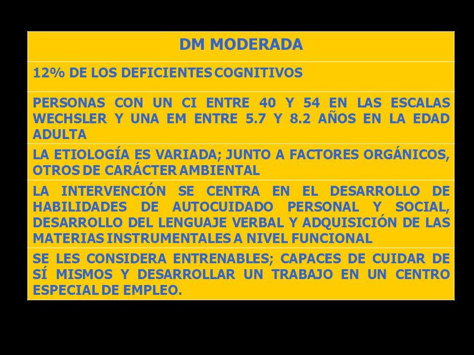 DM MODERADA 12% DE LOS DEFICIENTES COGNITIVOS