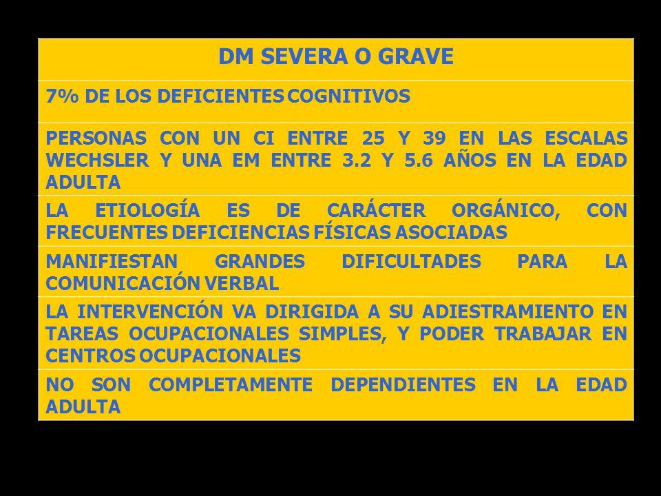 DM SEVERA O GRAVE 7% DE LOS DEFICIENTES COGNITIVOS