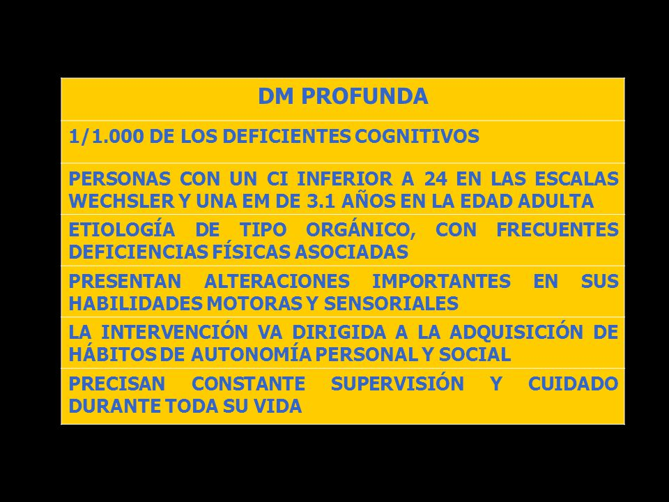 DM PROFUNDA 1/1.000 DE LOS DEFICIENTES COGNITIVOS