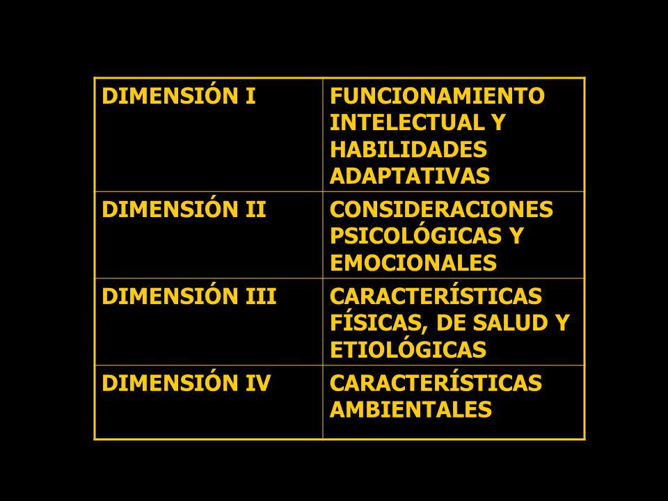 DIMENSIÓN I FUNCIONAMIENTO INTELECTUAL Y HABILIDADES ADAPTATIVAS. DIMENSIÓN II. CONSIDERACIONES PSICOLÓGICAS Y EMOCIONALES.