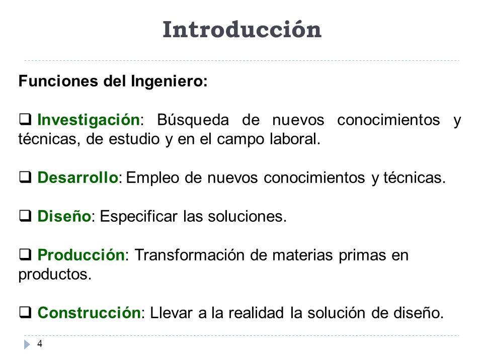 Introducción Funciones del Ingeniero: