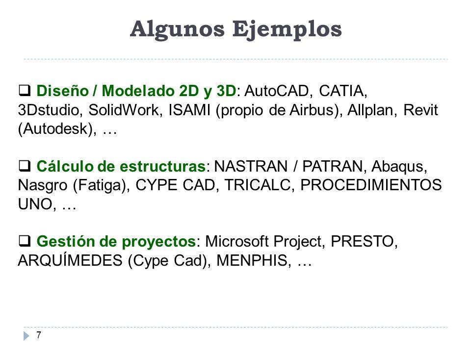 Algunos Ejemplos Diseño / Modelado 2D y 3D: AutoCAD, CATIA, 3Dstudio, SolidWork, ISAMI (propio de Airbus), Allplan, Revit (Autodesk), …