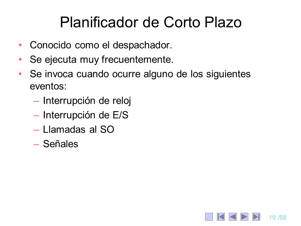 Planificador de Corto Plazo