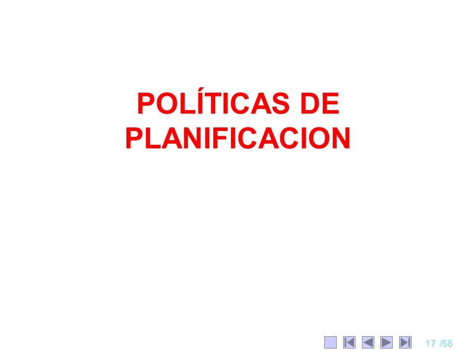 POLÍTICAS DE PLANIFICACION
