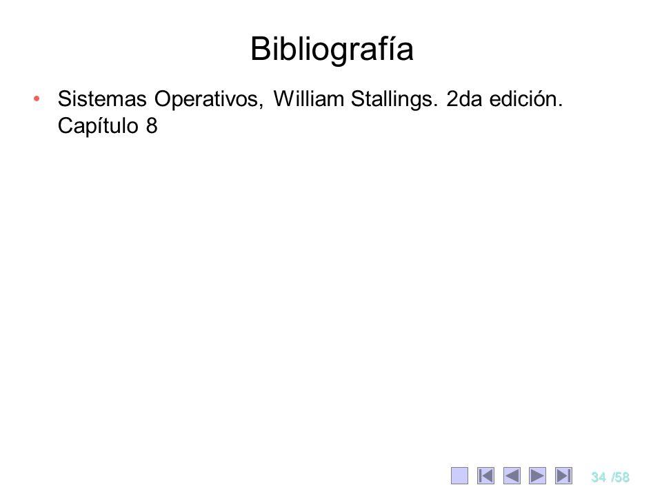 Bibliografía Sistemas Operativos, William Stallings. 2da edición. Capítulo 8