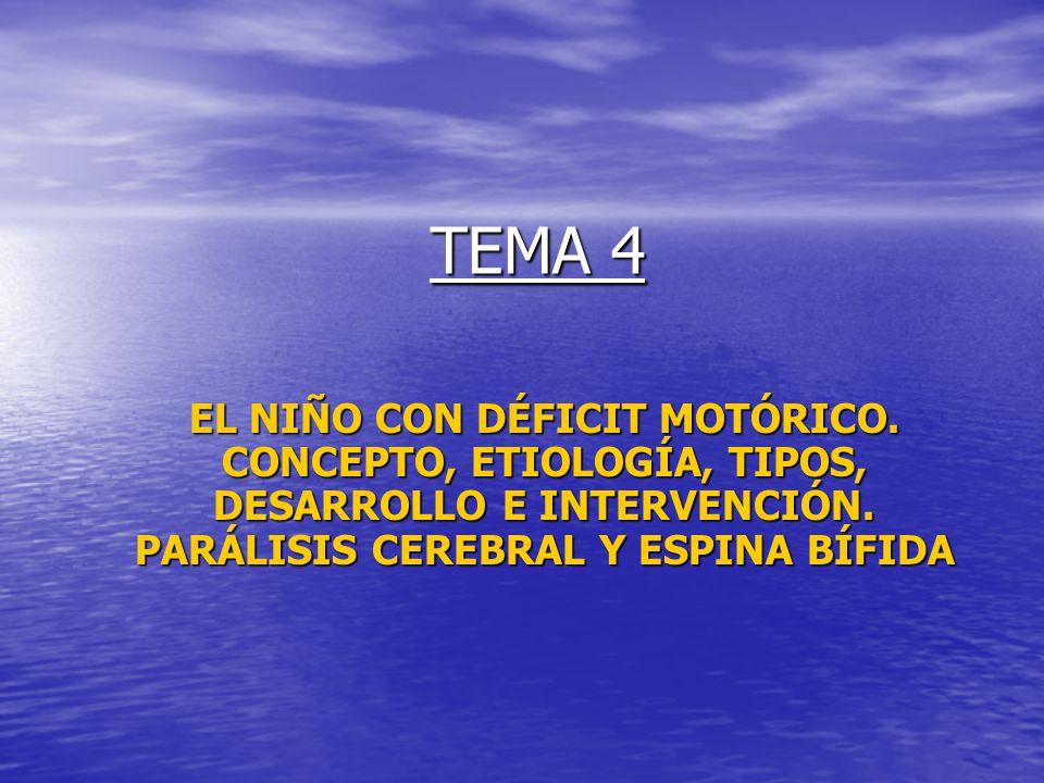 TEMA 4 EL NIÑO CON DÉFICIT MOTÓRICO. CONCEPTO, ETIOLOGÍA, TIPOS, DESARROLLO E INTERVENCIÓN.