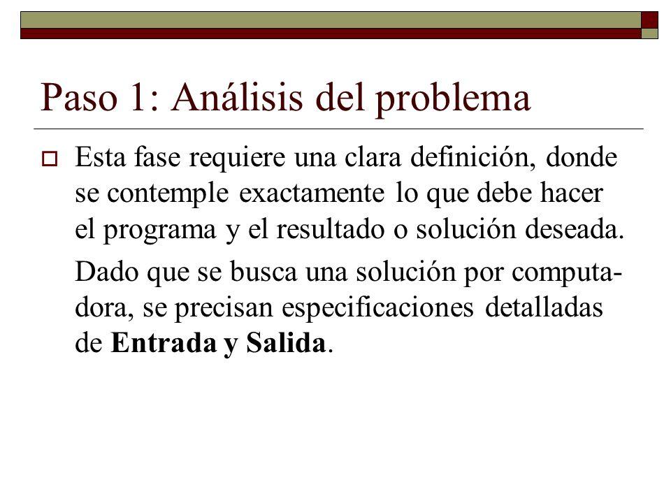 Paso 1: Análisis del problema