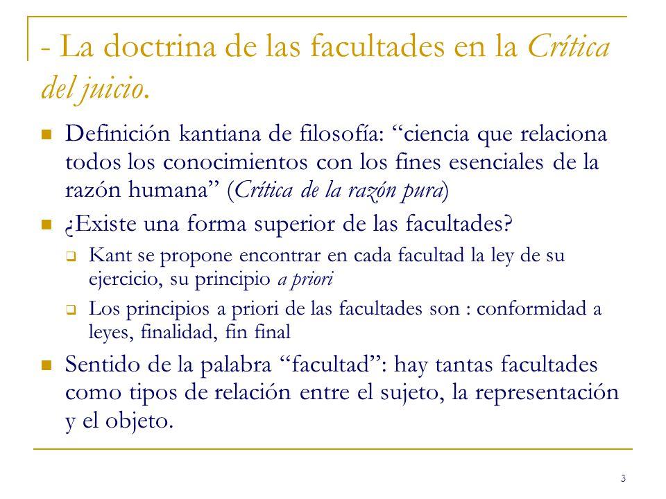- La doctrina de las facultades en la Crítica del juicio.