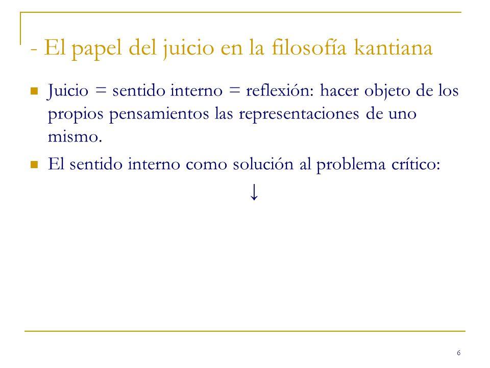 - El papel del juicio en la filosofía kantiana