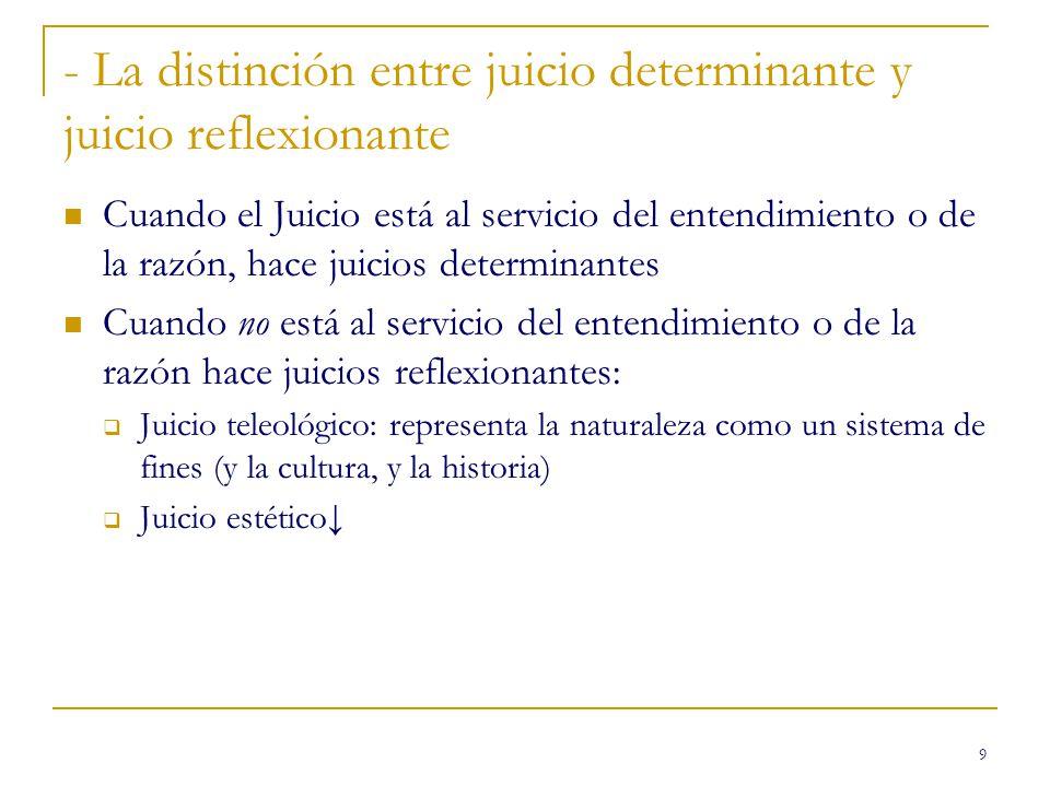 - La distinción entre juicio determinante y juicio reflexionante