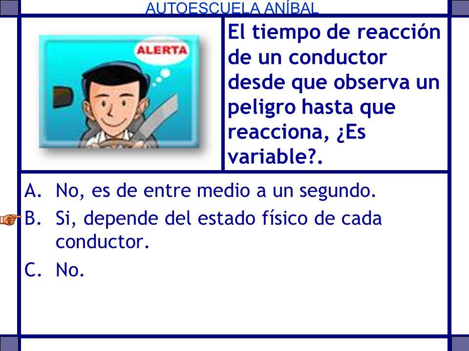 El tiempo de reacción de un conductor desde que observa un peligro hasta que reacciona, ¿Es variable .