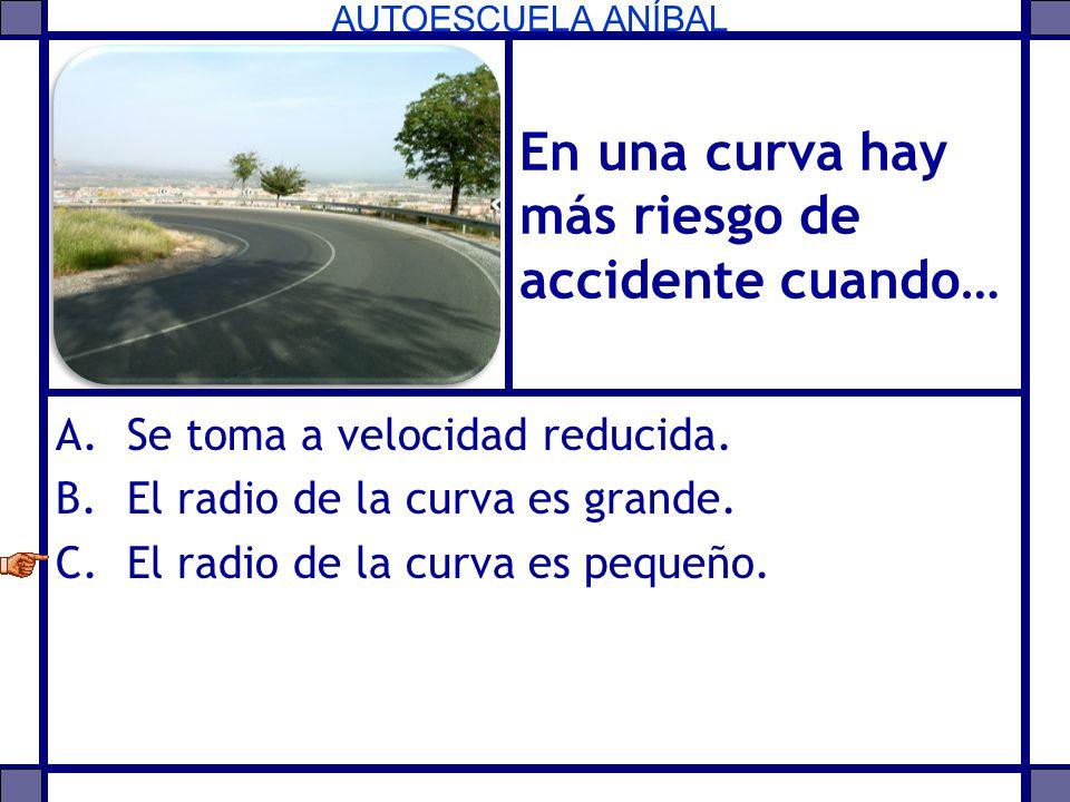 En una curva hay más riesgo de accidente cuando…