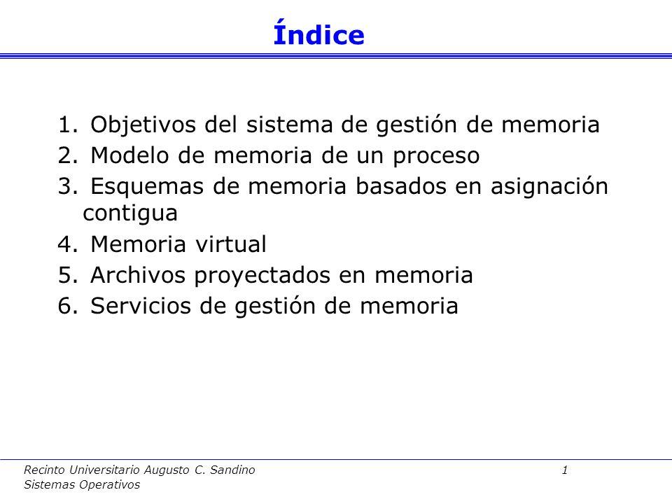 Índice Objetivos del sistema de gestión de memoria