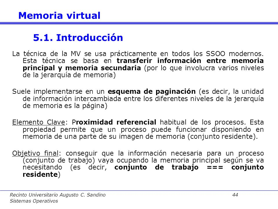 Memoria virtual 5.1. Introducción