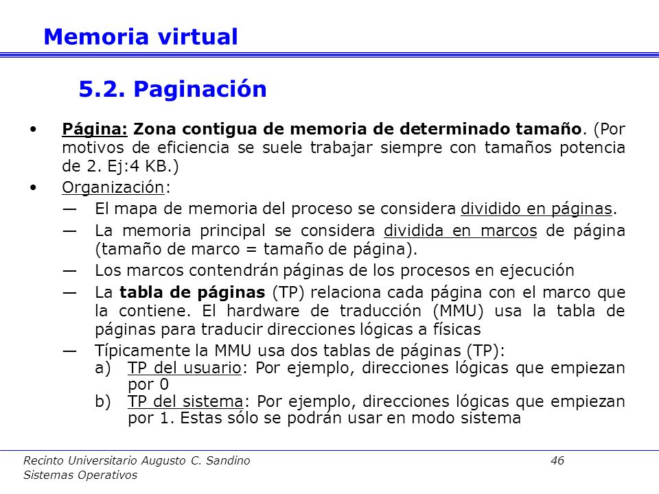 Memoria virtual 5.2. Paginación