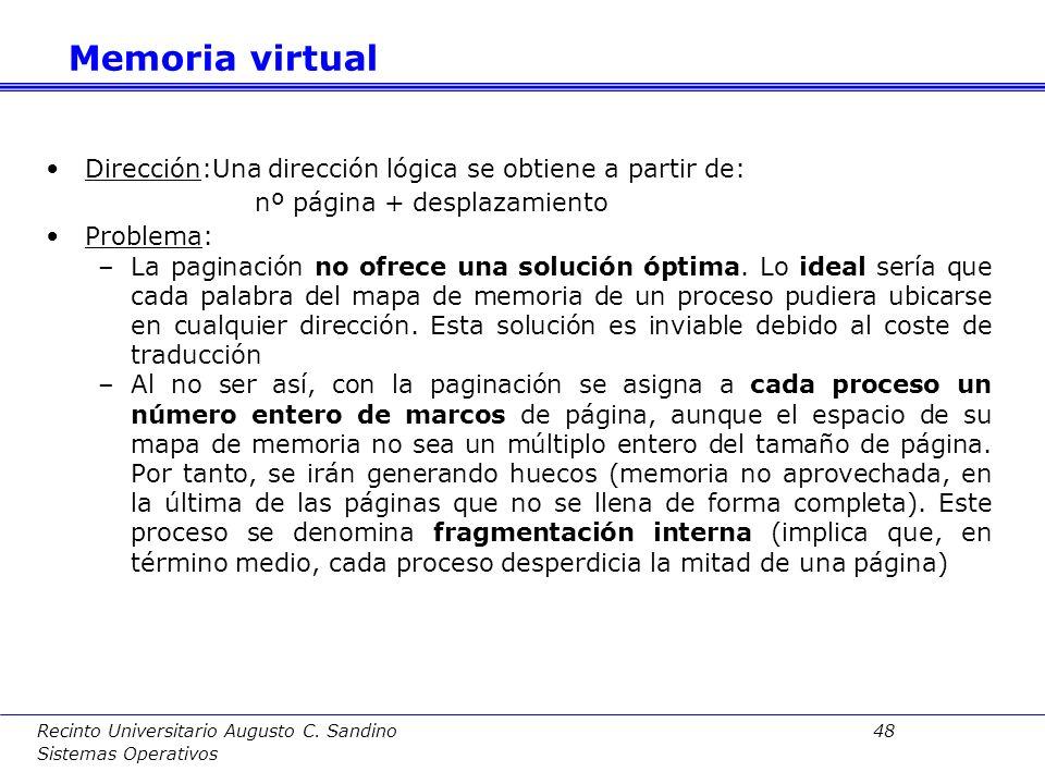 Memoria virtual Dirección:Una dirección lógica se obtiene a partir de: