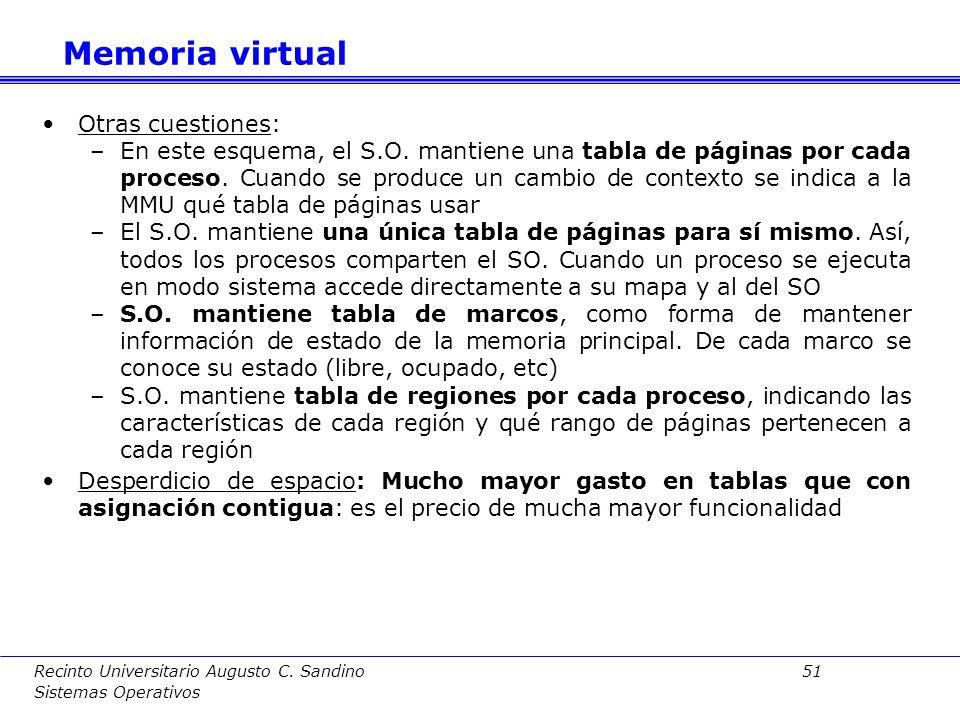 Memoria virtual Otras cuestiones:
