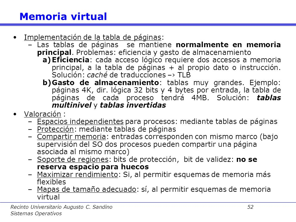 Memoria virtual Implementación de la tabla de páginas: