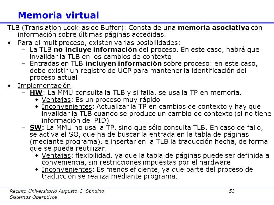 Memoria virtual TLB (Translation Look-aside Buffer): Consta de una memoria asociativa con información sobre últimas páginas accedidas.