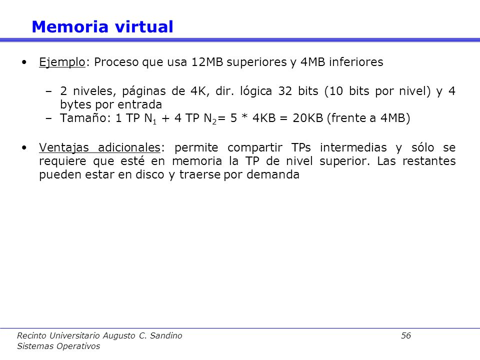Memoria virtual Ejemplo: Proceso que usa 12MB superiores y 4MB inferiores.
