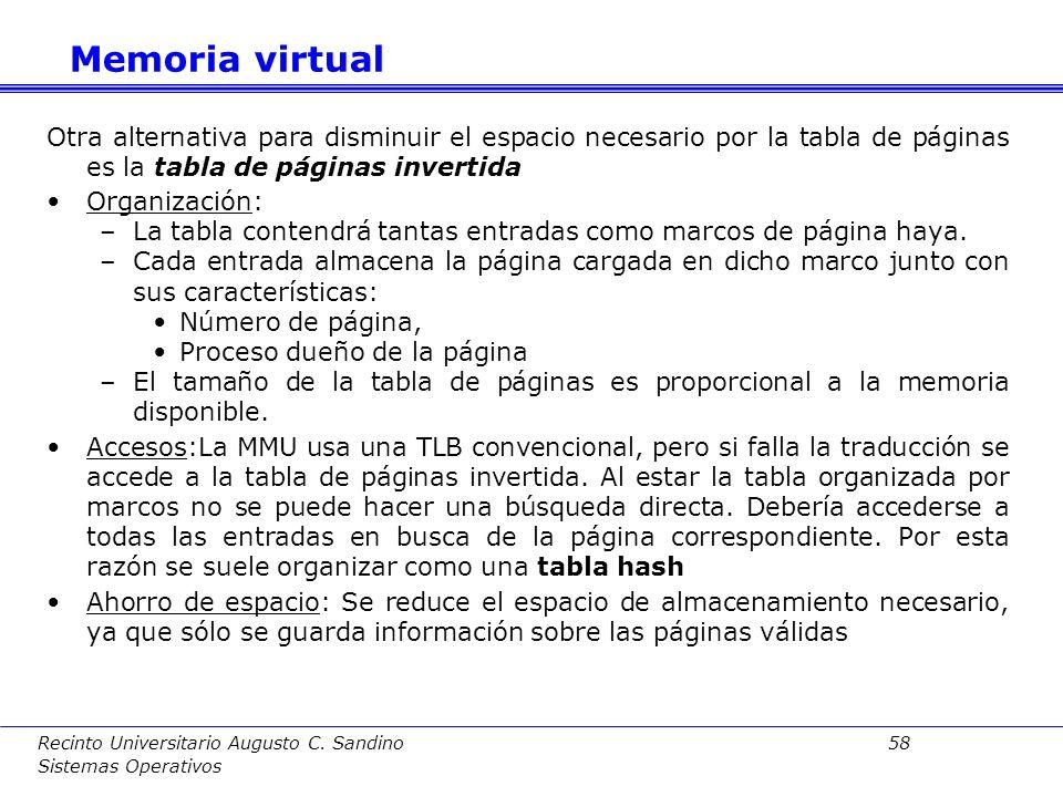 Memoria virtual Otra alternativa para disminuir el espacio necesario por la tabla de páginas es la tabla de páginas invertida.