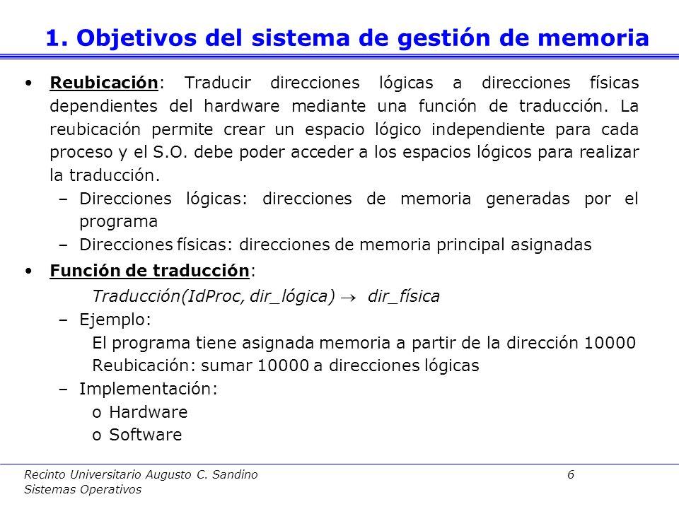 1. Objetivos del sistema de gestión de memoria