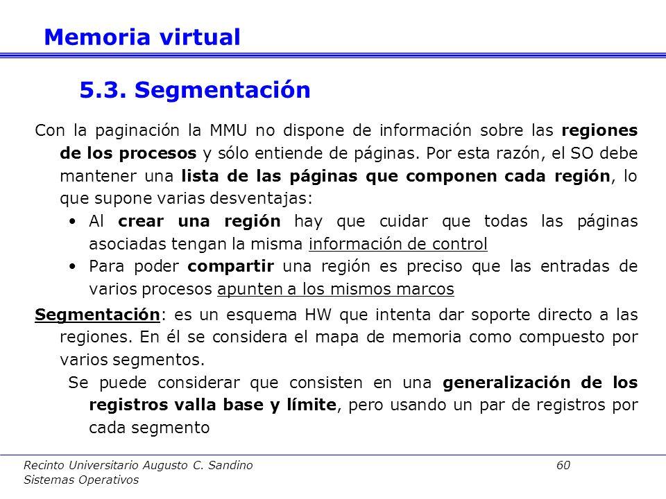 Memoria virtual 5.3. Segmentación