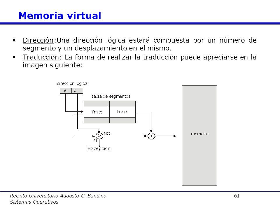 Memoria virtual Dirección:Una dirección lógica estará compuesta por un número de segmento y un desplazamiento en el mismo.