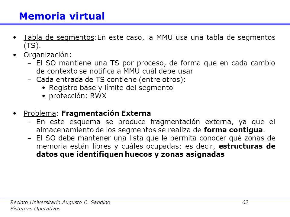 Memoria virtual Tabla de segmentos:En este caso, la MMU usa una tabla de segmentos (TS). Organización: