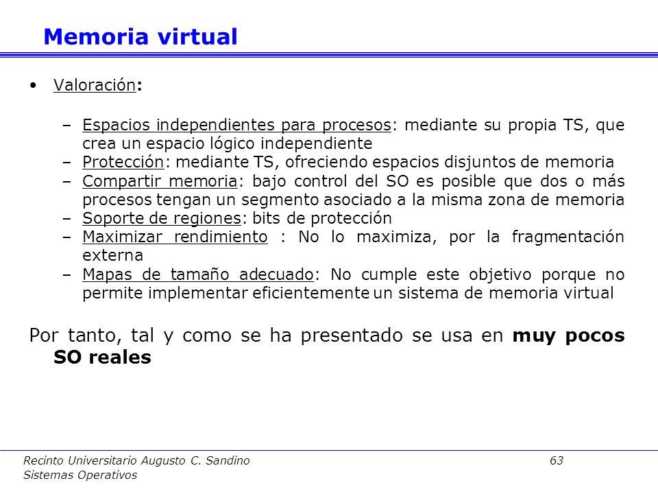 Memoria virtual Valoración: Espacios independientes para procesos: mediante su propia TS, que crea un espacio lógico independiente.