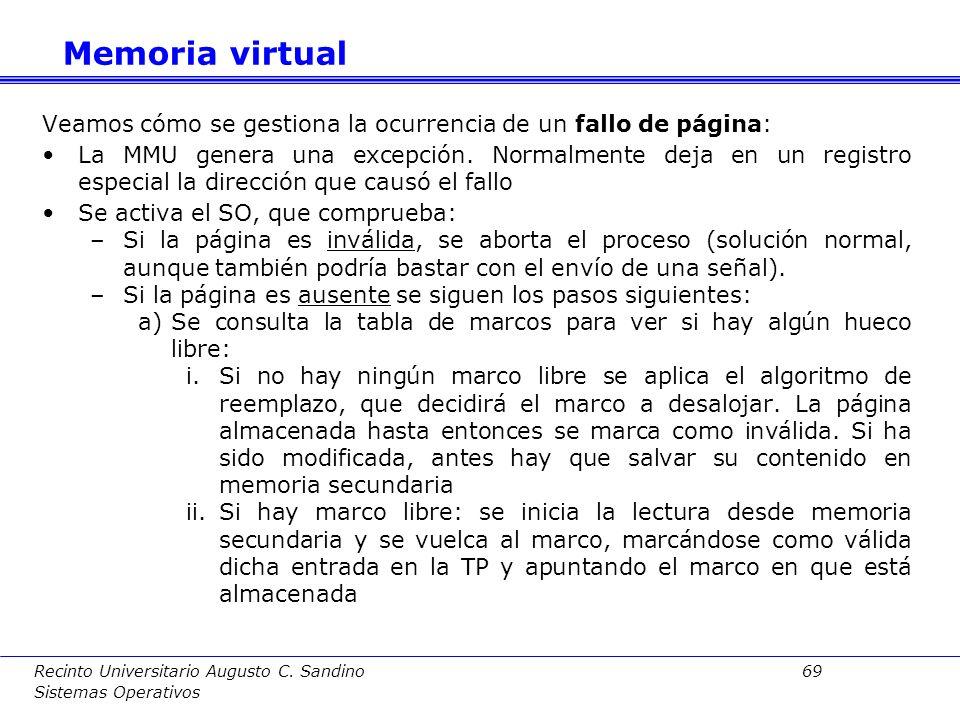 Memoria virtual Veamos cómo se gestiona la ocurrencia de un fallo de página: