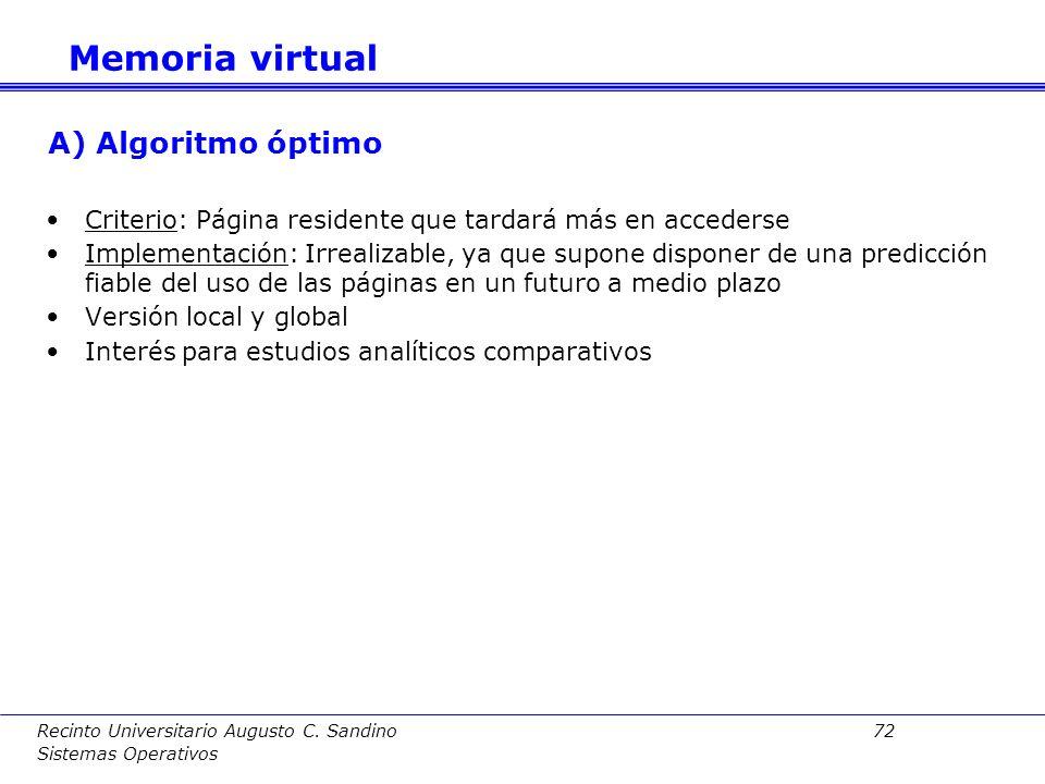 Memoria virtual A) Algoritmo óptimo