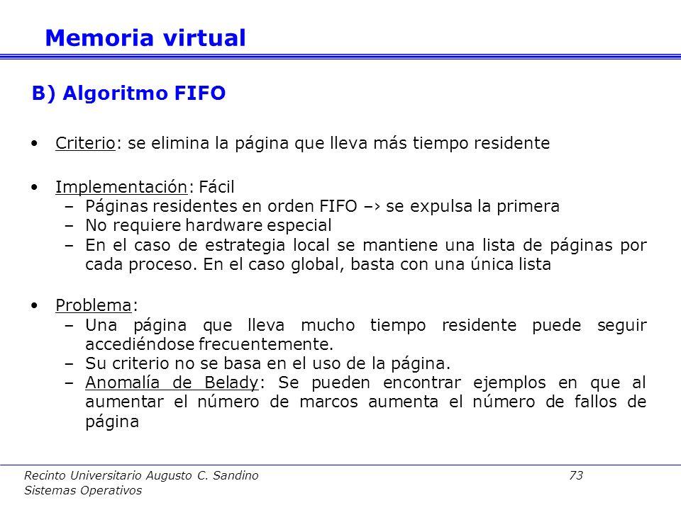 Memoria virtual B) Algoritmo FIFO