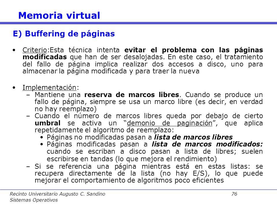 E) Buffering de páginas