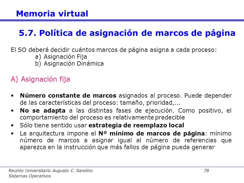 5.7. Política de asignación de marcos de página