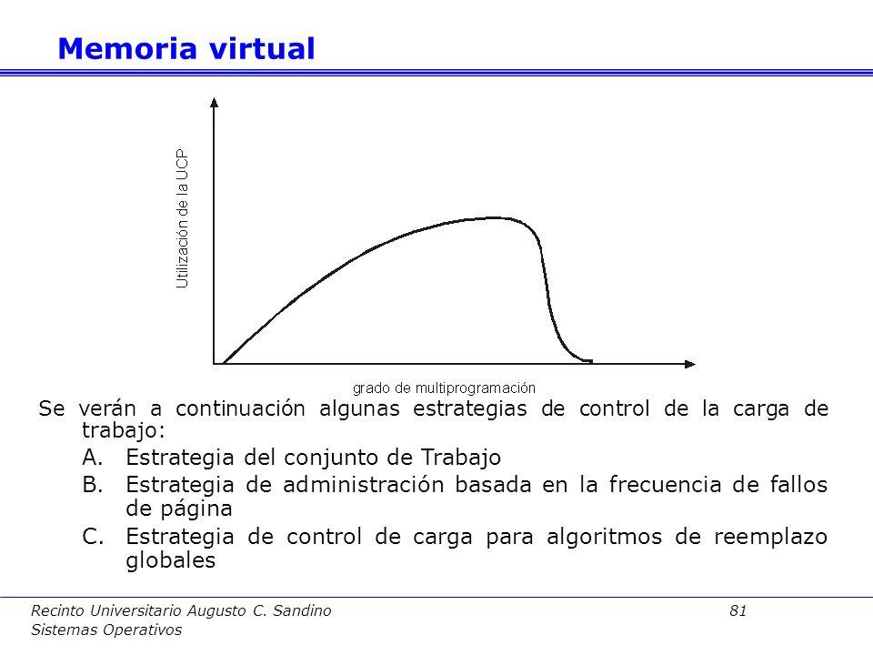 Memoria virtual Estrategia del conjunto de Trabajo