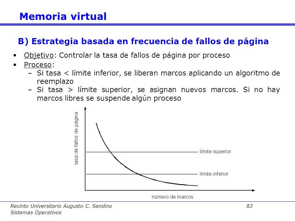 B) Estrategia basada en frecuencia de fallos de página