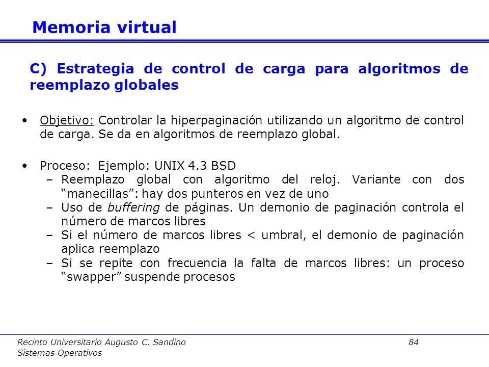 Memoria virtual C) Estrategia de control de carga para algoritmos de reemplazo globales.