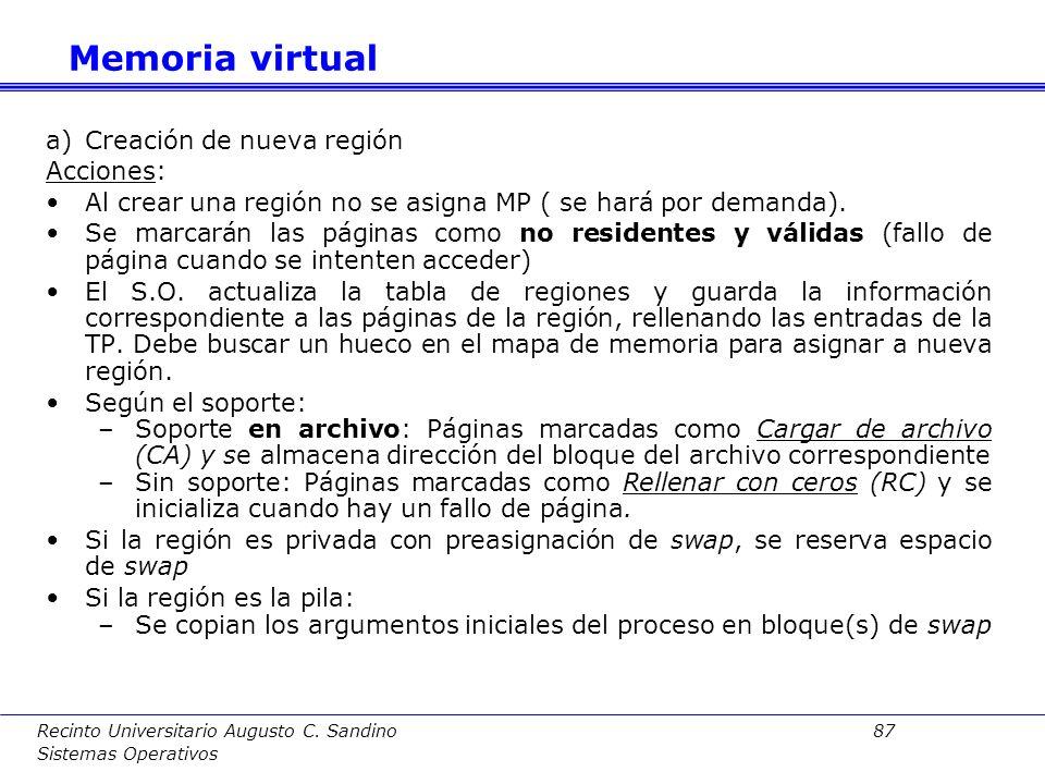 Memoria virtual Creación de nueva región Acciones: